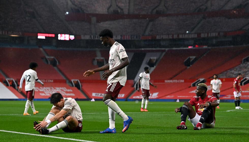 AVGJØRENDE: Paul Pogba fortviler etter å ha felt Héctor Bellerín. Det påfølgende straffesparket avgjorde kampen i Arsenals favør. Foto: NTB