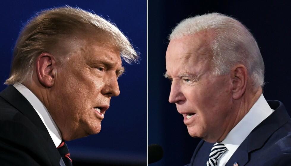 MOTSTANDERE: I dag bestemmer amerikanerne seg for om det er Joe Biden eller Donald Trump som blir landets president den neste perioden. Foto: Jim Watson og Saul Loeb / AFP / NTB