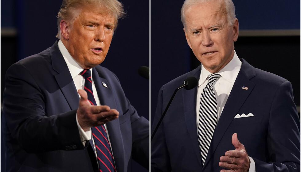Presidenter: Avtroppende president Donald Trump og innkommende president Joe Biden.  Foto: AP Photo / Patrick Semensky / NTB
