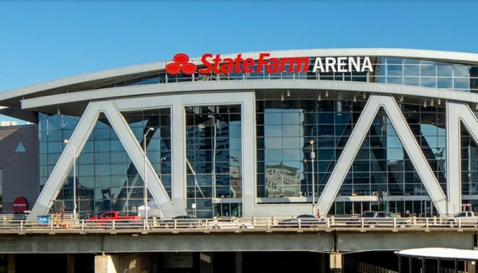 VANNRØR STOPPET STEMMETELLING: I opptellingsrommet her på State Farm Arena i Atlanta førte et sprukket vannrør til forsinkelser som har fått ringvirkninger i valgthrilleren i USA. Illustrasjon: Fra State Farm Arenas webside.