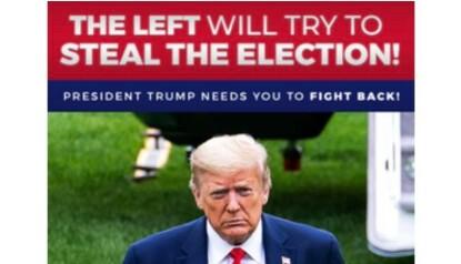 BER FOLK SLÅSS: For å beskytte presidenten. Skjermbilde fra Trumps nyhetsbrev.