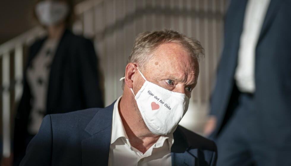 Byrådsleder Raymond Johansen innfører nye og strengere smitteverntiltak i Oslo på grunn av økende koronasmitte i hovedstaden. Foto: Heiko Junge / NTB.