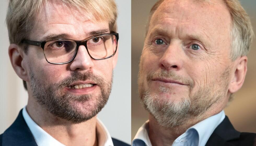 UENIGE: Byråsdleder Valhammer og byrådsleder Johansen er uenige om coronaregler. Foto: NTB