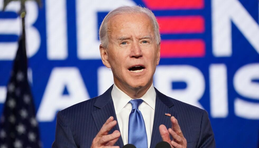 TALTE: Joe Biden talte til nasjonen, og brukte anledningen til å komme med et stikk til Donald Trump. Foto: Reuters/Kevin Lamarque/NTB.