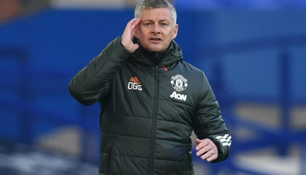 LUFTET FRUSTRASJON: Ole Gunnar Solskjær var kritisk etter Everton-seieren. Foto: REUTERS/Paul Ellis/NTB Scanpix