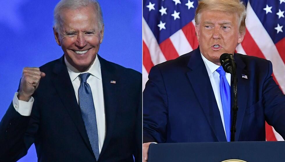 VINNEREN OG TAPEREN: Joe Biden er av mange utpekt som vinneren av valgkampen i USA, og vil bli landets 46. president. Foto: AFP/NTB Scanpix.