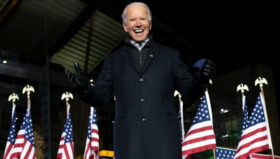 PRESIDENTEN: Joe Biden ble lørdag ettermiddag utpekt som valgvinner av alle de store amerikanske mediene. Foto: AFP/NTB Scanpix.