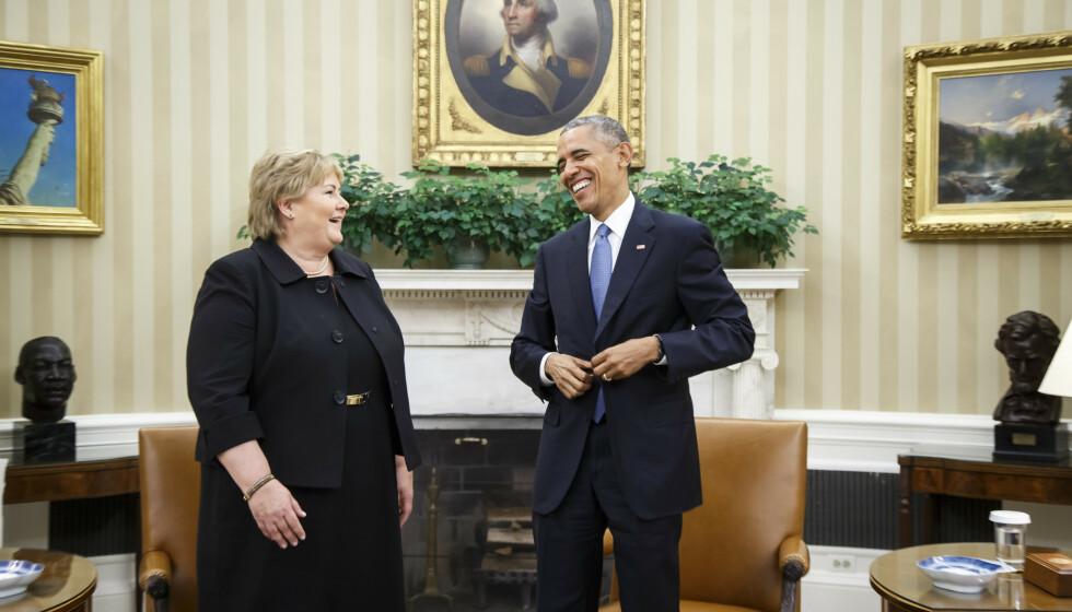2016: Bildet av Solberg og daværende president Obama fotografert etter et møte i Det hvite hus i 2016. Foto: Heiko Junge / NTB