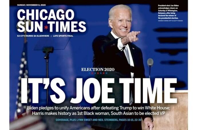 PRESIDENT-TID: Chicago Sun-Times' forside i søndagsutgaven. Foto: Chicago Sun-Times