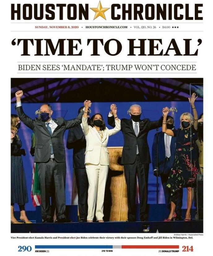 JUBELSCENER: Sitatet fra Bidens tale preger mange av USAs avisforsider søndag. Foto: Houston Chronicle