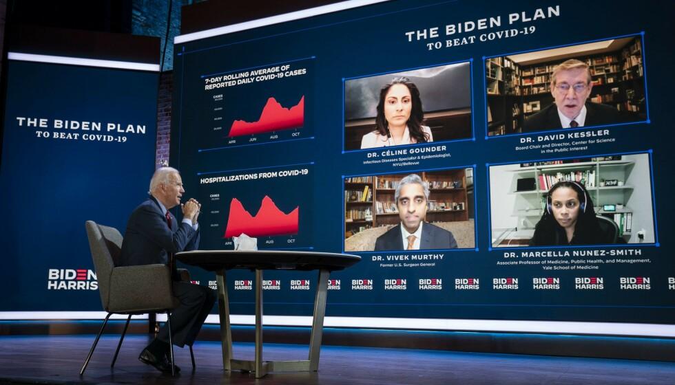 BIDENS CORONALAG: Mandag utnevner USAs nyvalgte president Joe Biden en rekke fagpersoner til en egen coronagruppe som skal rådgi ham når han inntar Det hvite hus. Allerede nå er det klart hvem som skal lede gruppa. Foto: AFP / NTB Scanpix