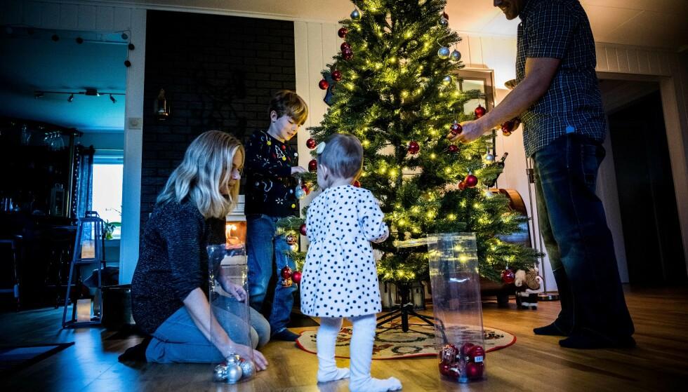 JULESTEMNING: De 300 LED-lysene som er ferdig monterte i treet gir en god og varm stemning hos Marianne og hennes familie. Foto: Aller Concept Store.
