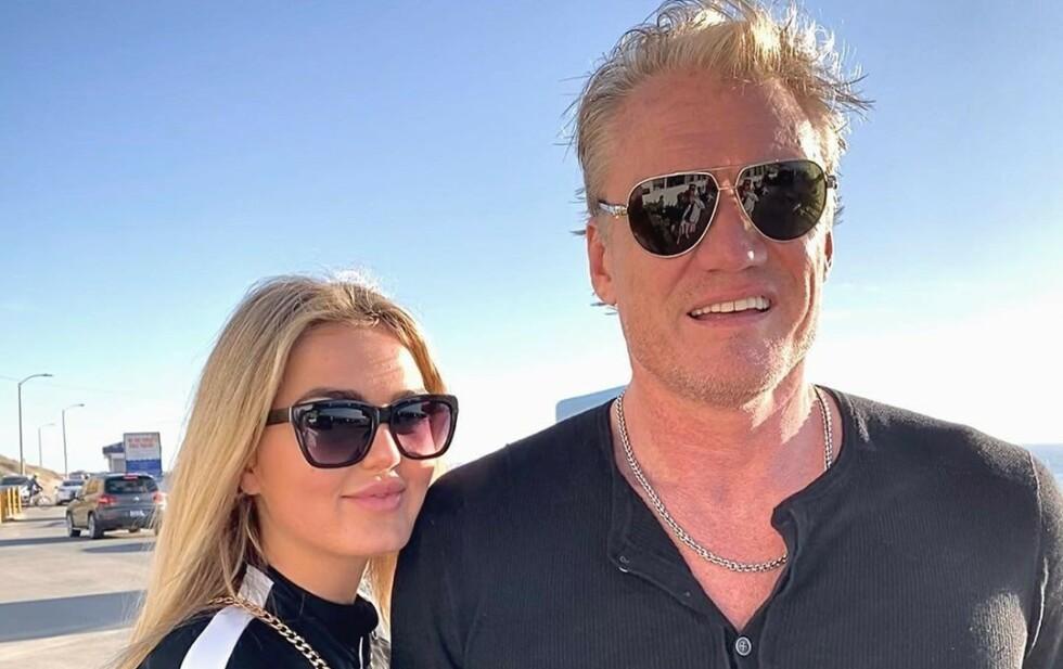 KLAR FORMENING: Emma Krokdal og Dolph Lundgren har fått mye oppmerksomhet for aldersforskjellen mellom dem. Foto: Emma Krokdal / Instagram