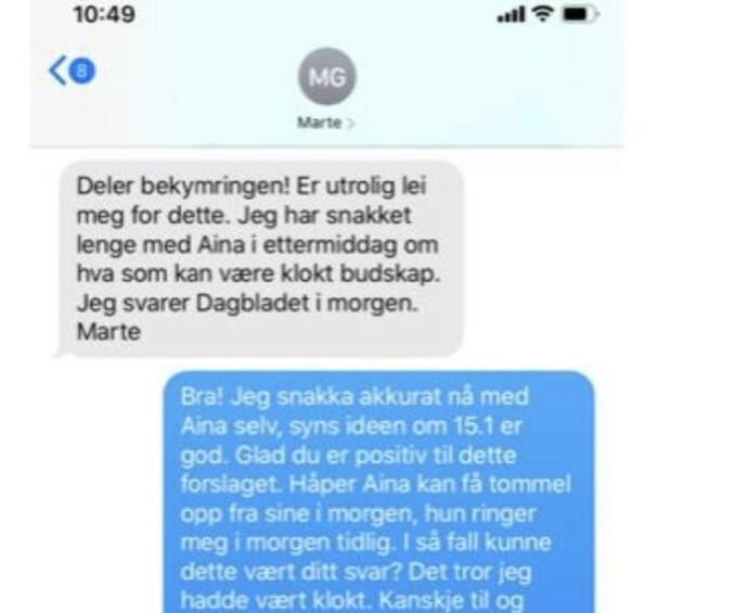 TETT DIALOG: På SMS planlegger Marte Gerhardsen og Inga Marte Thorkildsen håndteringen av Dagbladets avsløringer. Utdanningsforbundet er tett involvert.