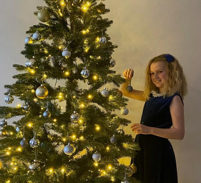 PYNTET TIL JUL: Connie og hennes familie synes det var enkelt og raskt og sette opp treet. Foto: Privat