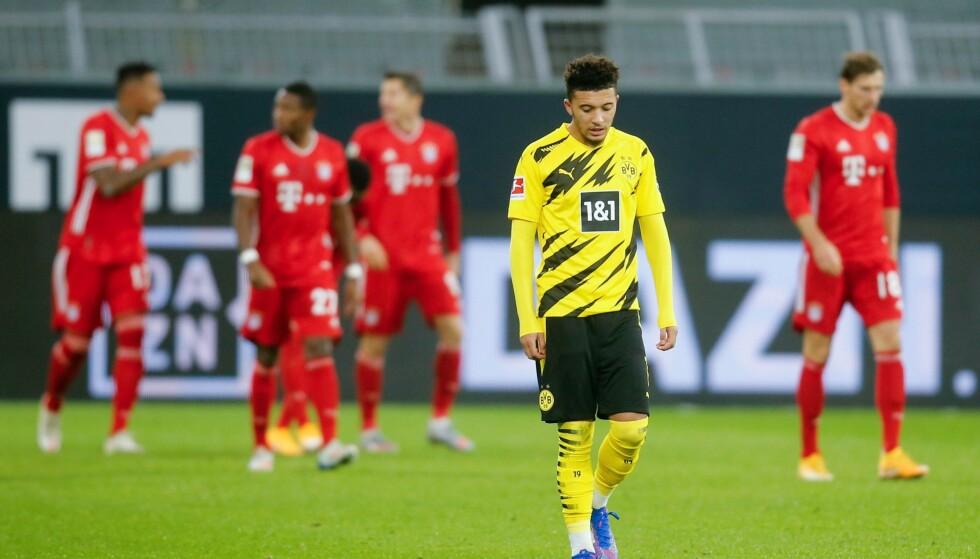 EN SKYGGE AV SEG SELV: Borussia Dortmunds Jadon Sancho Foto: LEON KUEGELER / POOL / AFP / NTB