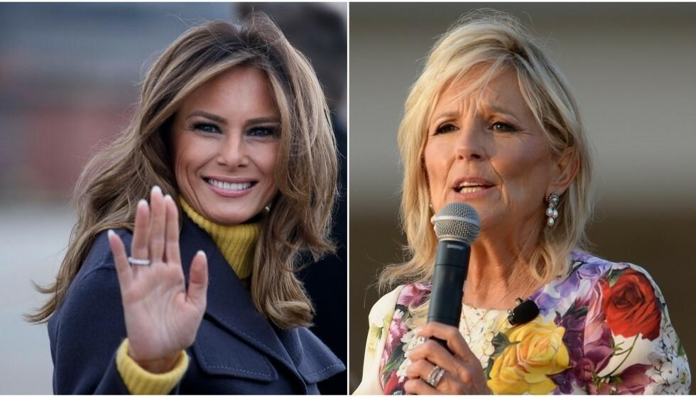 FØRSTEDAMER: Avtroppende førstedame Melania Trump og påtroppende førstedame Jill Biden. Foto: Brendan Smialowski / AFP / Splash News / NTB