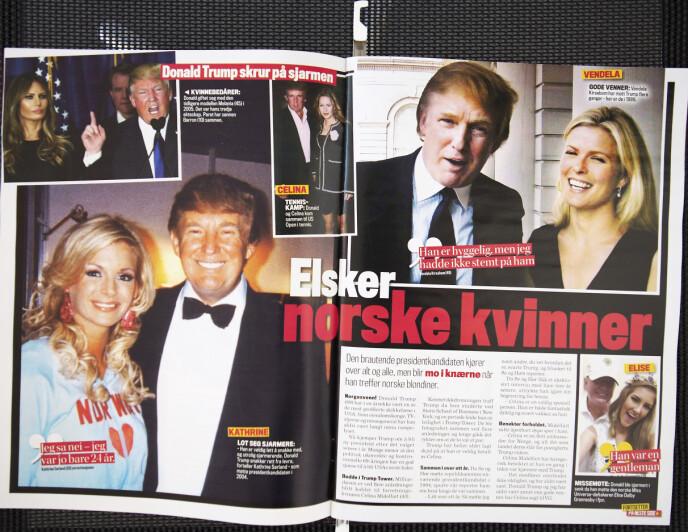 ANGRER: Kathrine Sørland er på langt nær den eneste norske kvinnen Donald Trump har lagt sin elsk på. Hele to ganger måtte han avvises av Sørland før han ga seg. Å tenke på hva som kunne ha hendt om hun ble med til New York, er et artig tankeeksperiment. Faksimile: Se og Hør