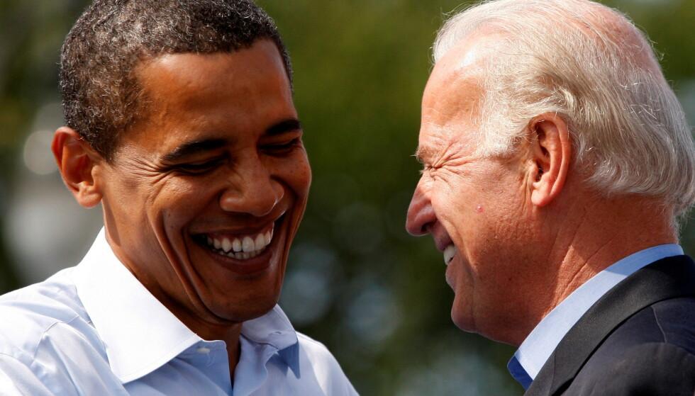GODE VENNER: Barack Obama og Joe Biden har blitt gode venner etter å ha jobbet tett sammen i Det hvite hus i åtte år. Foto: Jason Reed / Reuters / NTB