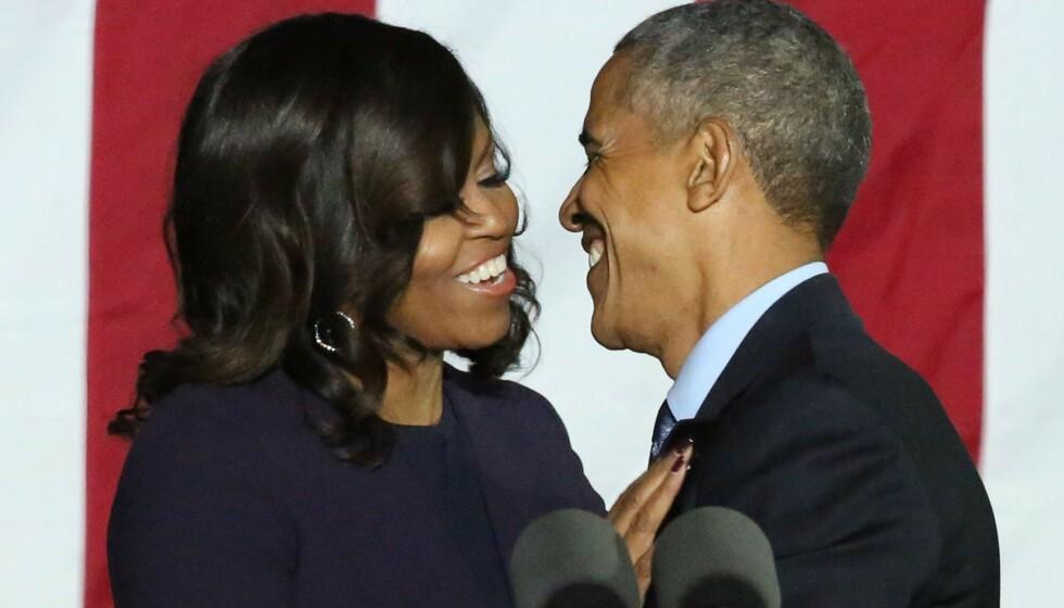 GODT GIFT: Michelle Obama og Barack Obama har vært gift siden 1992. Foto: Matt Baron / Shutterstock / NTB