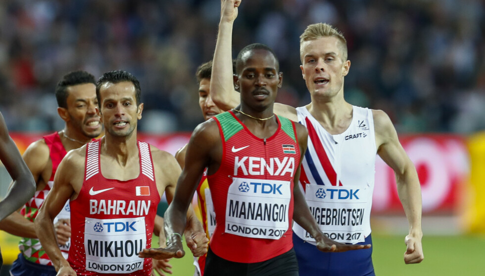 Elijah Manangoi (i midten) er utestengt for brudd på meldeplikten. Her er han sammen med blant annet Filip Ingebrigtsen under VM i London i 2017. Foto: Heiko Junge / NTB