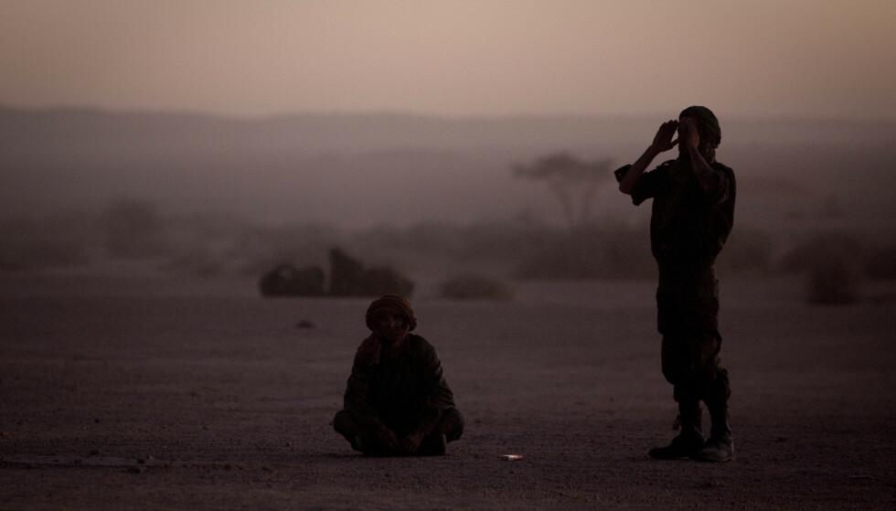 Polisario-soldater ber etter solnedgang i februar 2011. Foto: Arturo Rodriguez / AP / NTB