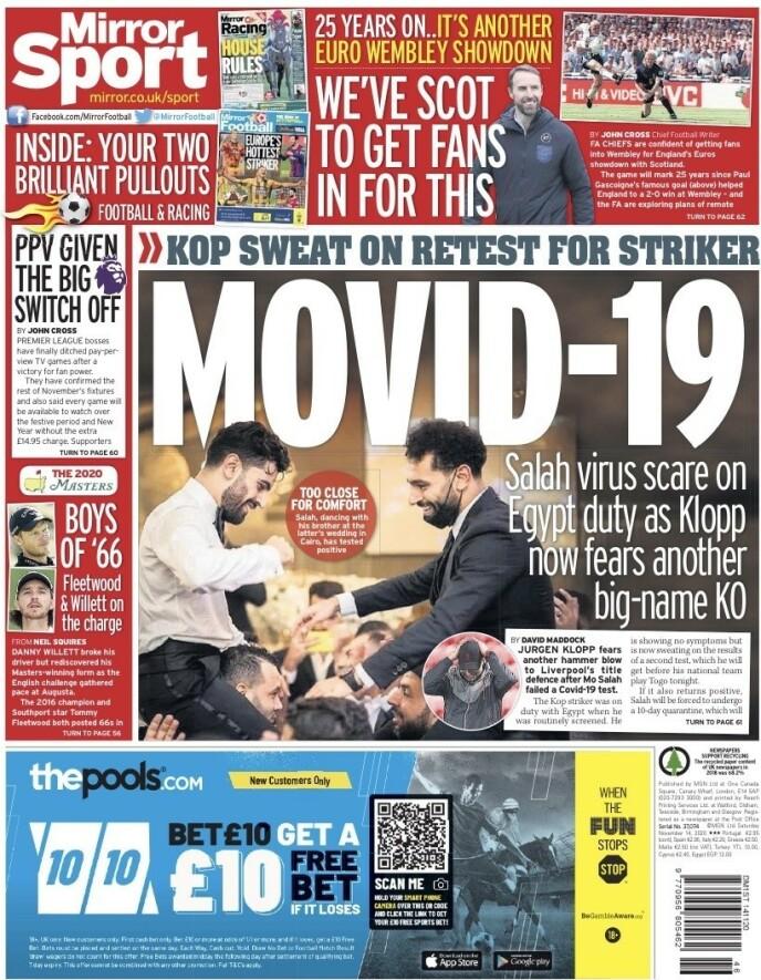 DAILY MIRROR: Mohamed Salah må isoleres i ti dager etter å ha avlagt positiv coronatest. - Movid-19, skriver Daily Mirror lørdag.