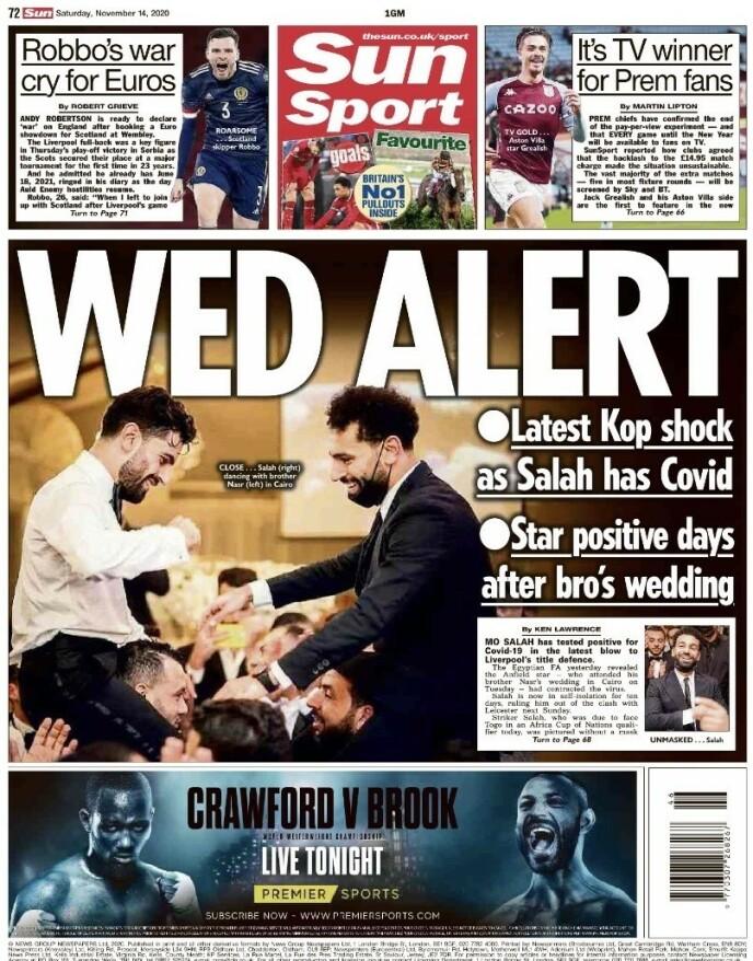 THE SUN: Mohamed Salahs positive test er et sjokk for Liverpool og manager Jürgen Klopp, melder The Sun lørdag.