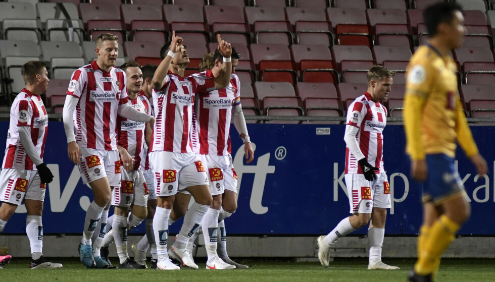JUBLET: Fitim Azemi ble matchvinner for Tromsø. Foto: Rune Stoltz Bertinussen / NTB
