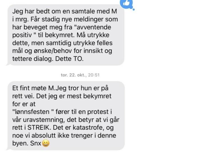 TETT DIALOG: SMS-ene mellom Inga Marte Thorkildsen og Utdanningsforbundets leder i Oslo.