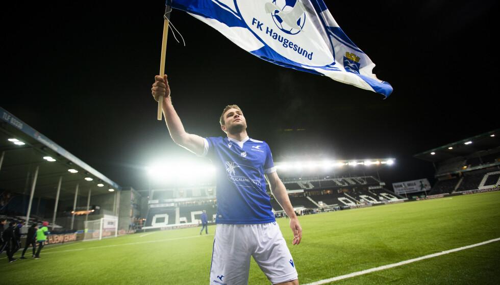 GODE DAGER: Tronstad fikk etter noen tøffe år som fotballspiller endelig suksess i Haugesund. Her jubler han etter at Haugesund har slått Odd og blitt klare for cupfinalen i 2019. Foto: NTB