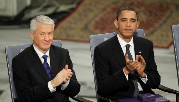 I OSLO: Tidligere leder av Den Norske Nobelkomite, Thorbjørn Jagland, og USAs tidligere president Barack Obama. Foto: NTB