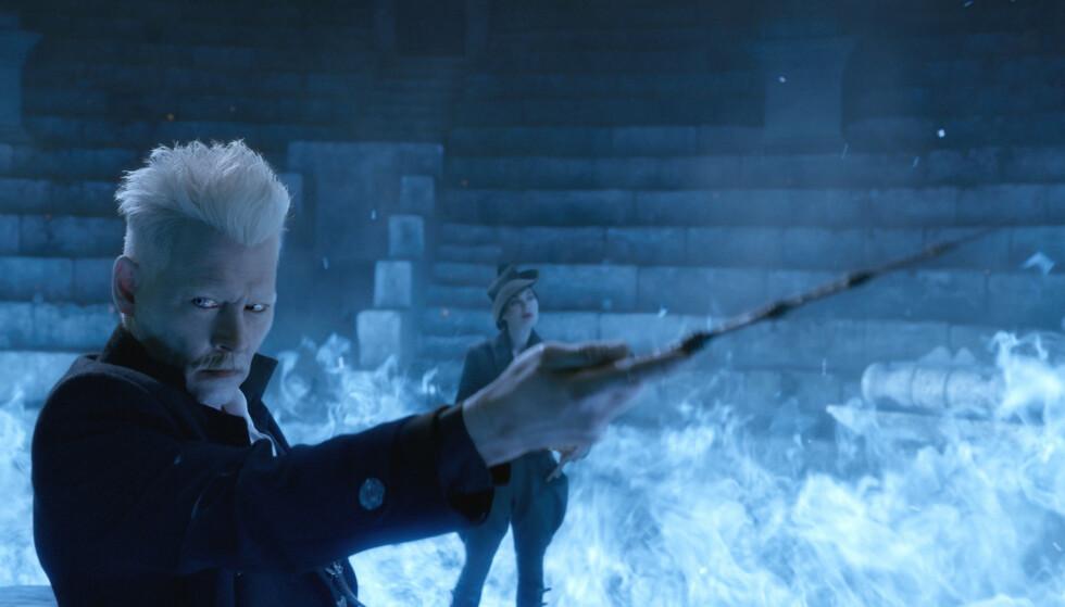 """SKURKEN: Johnny Depp i rollen som Gellert Grindelwald i """"Fantastic Beasts: The Crimes of Grindelwald"""". Foto: Warner Bros/Kobal/REX"""