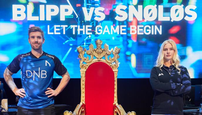 E-SPORT-KRIG: Stian Blipp og Amalie Snøløs på tv-konkurrenter denne vinteren. Foto: Håkon Mæland/TV 2