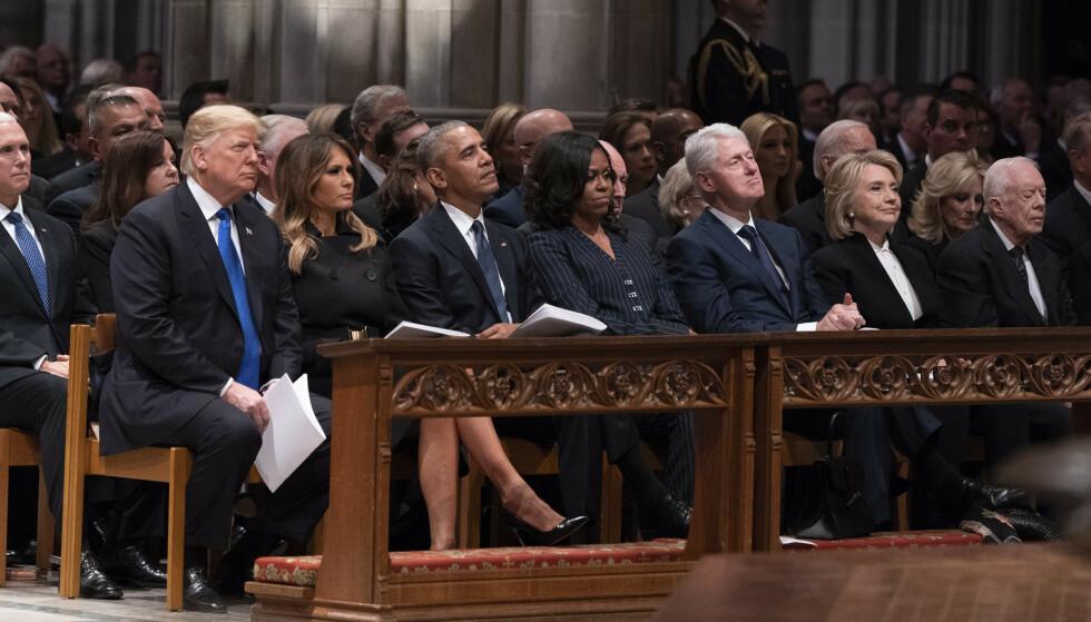 IKKE OFTE: Michelle Obama har bare møtt Trump-familien en håndfull ganger etter at hun og Barack flyttet ut av Det hvite hus. Her er de fotografert i begravelsen til tidligere president George W. Bush senior i 2018. Foto: Chris Kleponis / Polaris, NTB