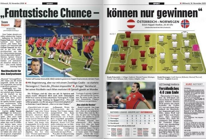 I OVERSKRIFTENE: Kronen Zeitung bruker fire sider på kampen mellom Østerrike og Norge i kveld. Her er to av dem.