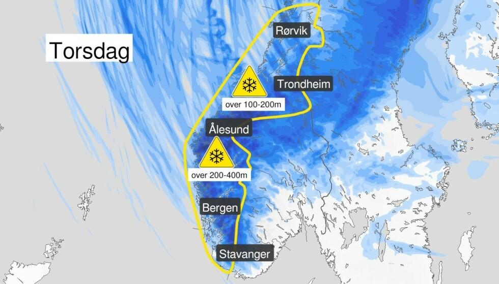 VINTERVÆR: Det milde novemberværet er over fra og med torsdag. Foto: Meteorologisk institutt