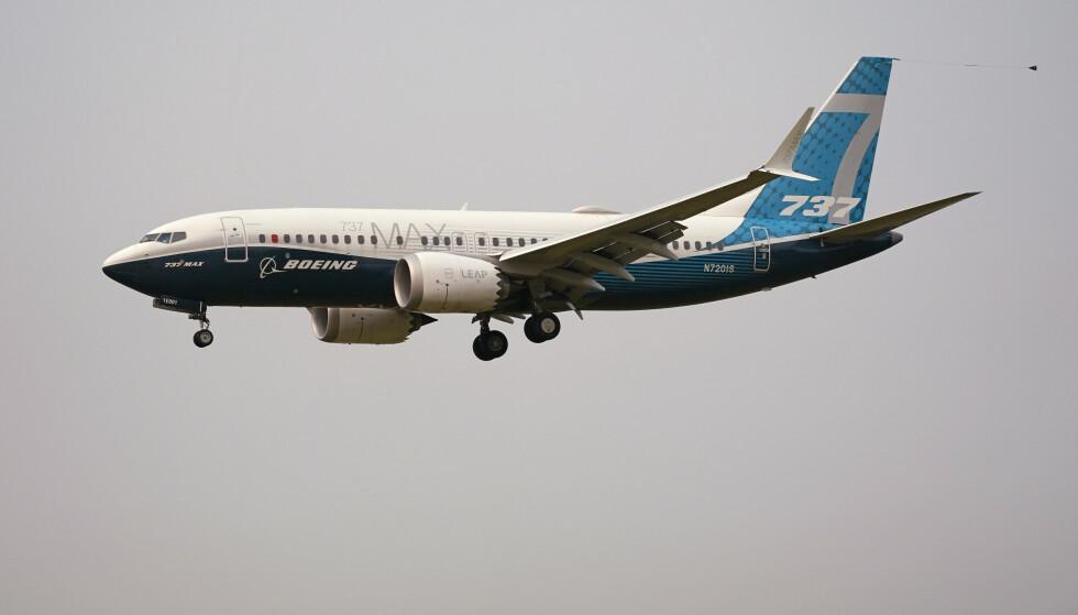 Et Boeing 737 Max-fly under en prøveflygning i september. Foto: Elaine Thompson, AP / NTB