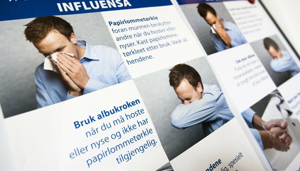 HOSTERÅD: Ved svineinfluensaen var det også informasjonskampanjer om håndvask og hoste-hygiene. Foto: Christian Thomassen / NTB