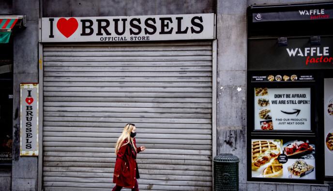 LOCKDOWN: Belgia er blant landene i Europa som har vært hardest rammet av den andre bølgen. Fortsatt meldes det om en sprengt kapasitet på landets intensivplasser. Foto: Shutterstock/ NTB