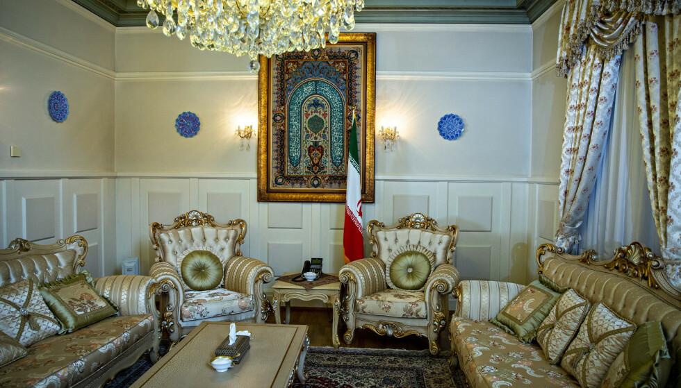 IRANS AMBASSADE: På innsiden av Irans ambassade i Drammensveien. En diplomat herfra var involvert i opprettelsen av Imam Ali-senteret. Foto: Bjørn Langsem