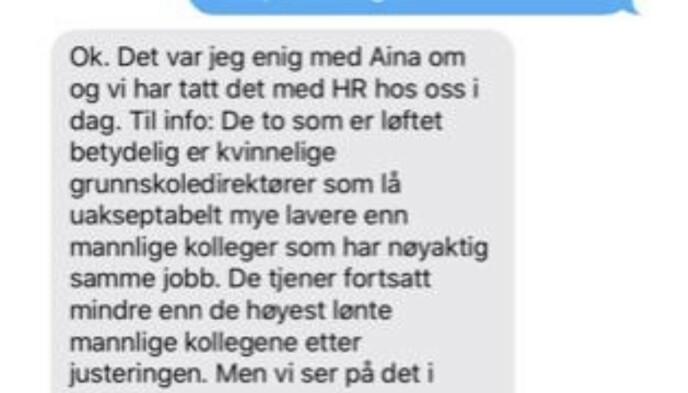 EN NY FORKLARING: På SMS til Inga Marte Thorkildsen 22. oktober tilbyr Marte Gerhardsen en helt annen forklaring på lønnsfesten.