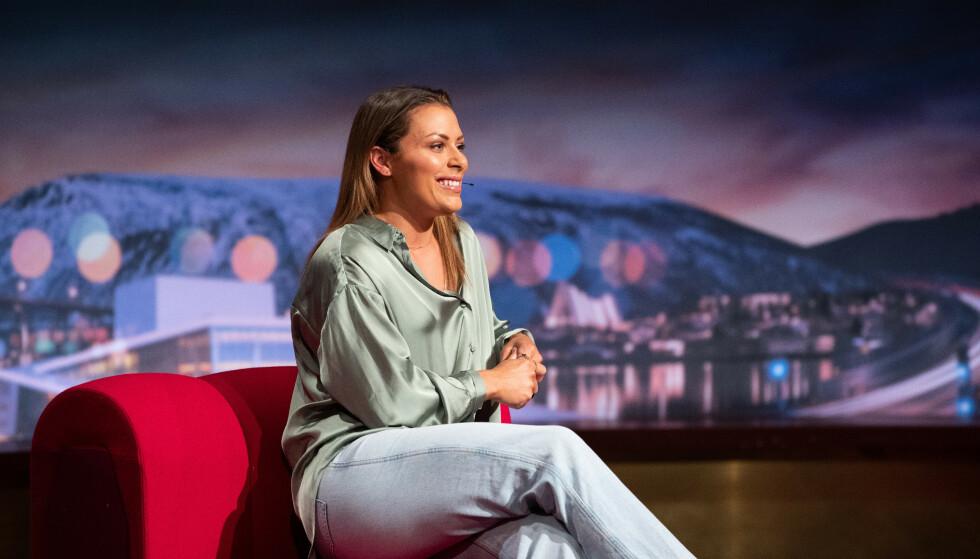 GJEST: Nora Mørk gjestet Senkveld fredag kveld. Fotograf: Helene Kjærgaard/TV 2