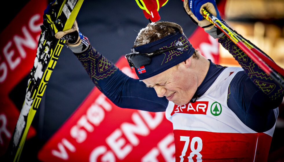 BIG WIN: Mikael Gunnulfsen was clearly moved when he reached the finish.  Photo: Bjørn Langsem / Dagbladet