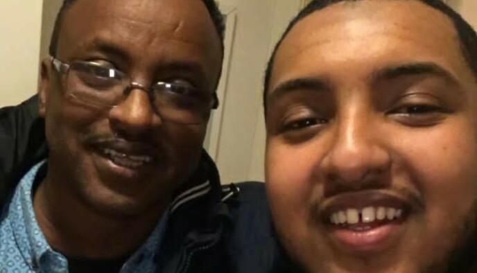 FAR OG SØNN: - Vi er svært lettet, heldigvis ble henrettelsen av pappa utsatt, sier sønnen Mustafa Hayd (t.h.). Her sammen med sin far - dødsdømte Saad Jidre. Foto: Privat