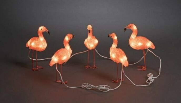 Disse flamingoene til 335kr har et mer rødlig skjær som kan være fint hvis du vil ha en litt mer dus dekorasjonsbelysning.