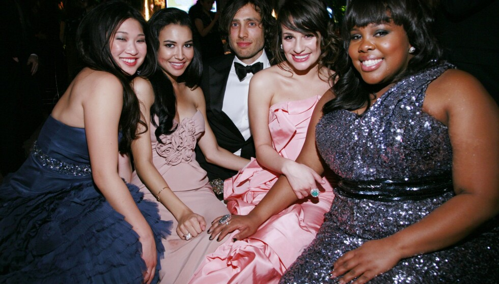 «GLEE»-GJENGEN: Jenna Ushkowitz, Naya Rivera, Brad Falchuk, Lea Michele og Amber Riley i 2011. Foto: Peter Wintersteller/BEI/REX/NTB