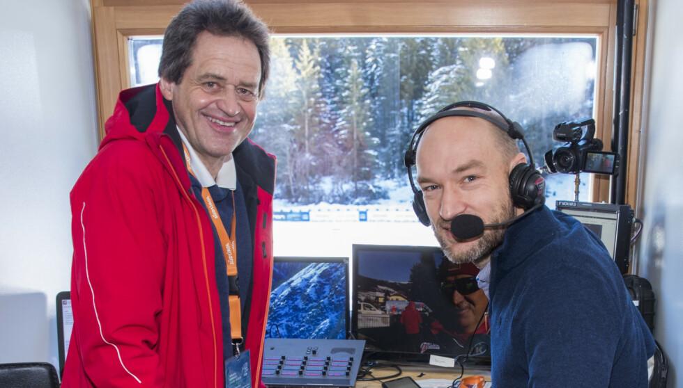 BLIR HJEMME: NRK-duoen Torgeir Bjørn (t.v.) og Jann Post. Foto: Terje Pedersen / NTB