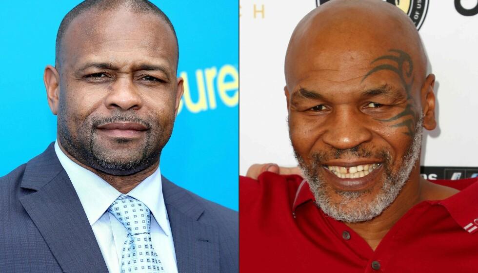 LEGENDER: Roy Jones Jr. (til venstre) og Mike Tyson (høyre) er klare for kamp. Foto: NTB