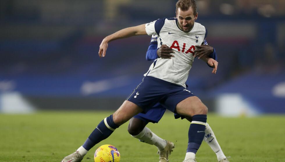 MÅLLØST: Heller ikke storscoreren Harry Kane fant nettmaskene i 0-0-kampen mellom Tottenham og Chelsea søndag. Foto: Matthew Childs/AP/NTB